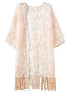 Fringe Floral Pattern Embroidery Half  Sleeve Kimono - Pink L