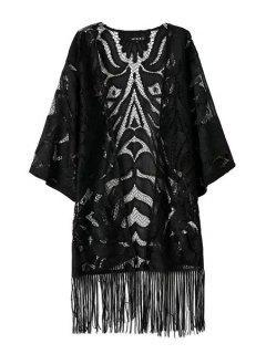 Lace Openwork Solid Color Fringe Kimono - Black L