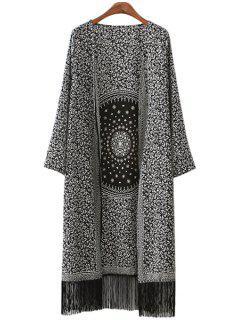 Round Pattern Print Fringe Long Sleeve Kimono - White And Black L