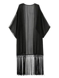 Solid Color Tassel Splicing Half Sleeve Kimono - Black L