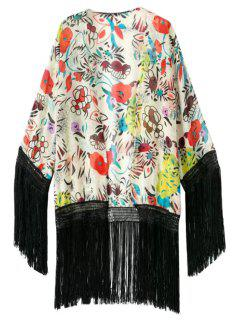Floral Print Black Fringe Splicing Kimono - L