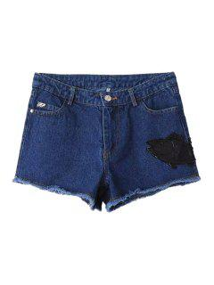 Fish Pattern Beaded Denim Shorts - Blue M