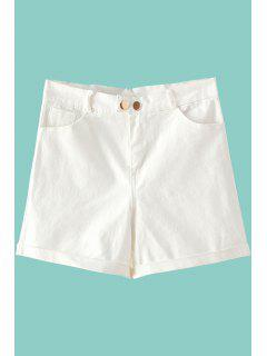 Solid Color Denim High Waisted Shorts - White S