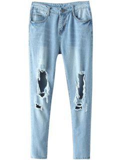 Blue Broken Hole Narrow Feet Jeans - Blue S