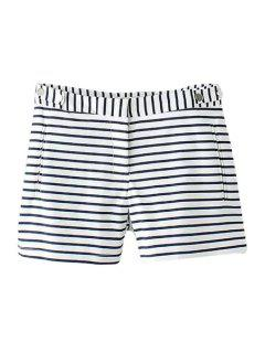 Stripe Zipper Fly Shorts - Blue And White M