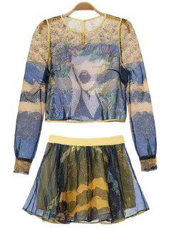 Abstract Print Blouse And A-Line Skirt Suit - Blue M