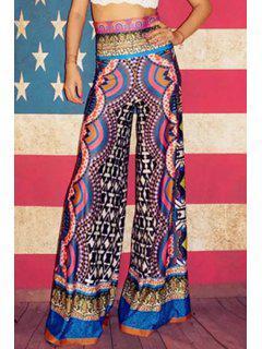 Ethnic Style Wide Leg Pants - L