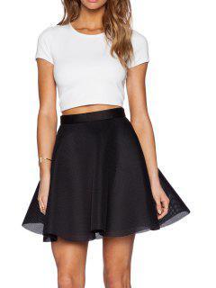 Blanc à Manches Courtes T-shirt Noir Et A-Ligne Skirt Suit - Noir Xl