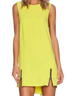 Yellow Round Neck Zipper Sundress - Light Yellow L