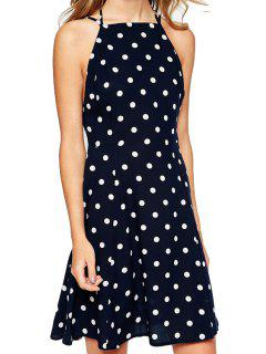 Polka Dot Print Halterneck Dress - White And Black M