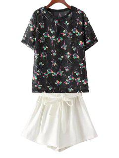 Floral T-Shirt And White Wide Leg Shorts Suit - White And Black