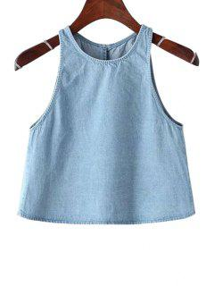Bleach Wash Denim Sleeveless Tank Top - Light Blue S