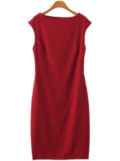 Solid Color Sleeveless Dress - Red S