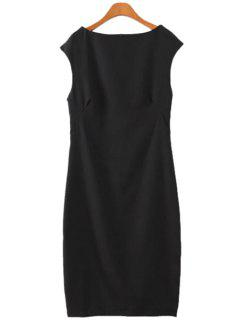 Solid Color Sleeveless Dress - Black M