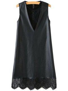 Lace Faux Leather Splicing Sleeveless Dress - Black S