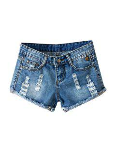 Frayed Denim Low Waisted Shorts - Blue 30