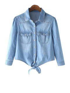 Solid Color Long Sleeves Denim Shirt - Light Blue S