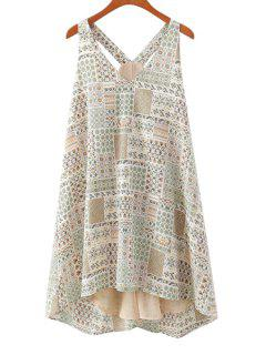 Print Spliced V-Neck Sundress - Beige S
