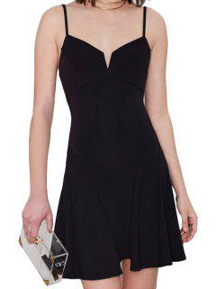 Ruffle Spaghetti Strap Solid Color Dress - Black M