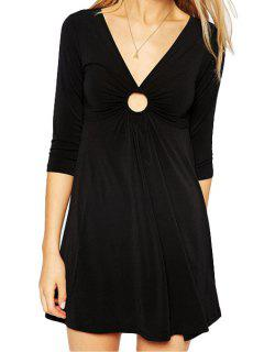 Round Openwork Solid Color 3/4 Sleeve Dress - Black L