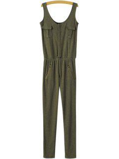 Solid Color Sleeveless Slimming Jumpsuit - Army Green S