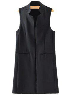 Stand-Up Collar Solid Color Sleeveless Waistcoat - Black S