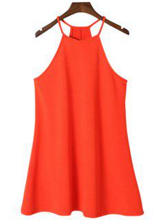 A-Line Solid Color Spaghetti Straps Dress - Jacinth S