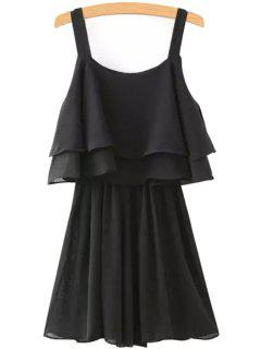 Solid Color Layered Chiffon Dress - Black M