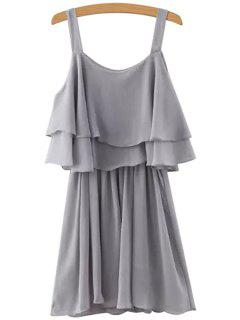 Solid Color Layered Chiffon Dress - Gray M