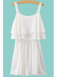 Solid Color Layered Chiffon Dress - White M