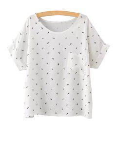 Fishbone Print Short Sleeve T-Shirt - White M