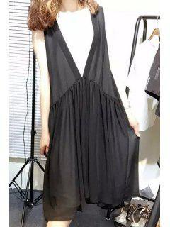 Color Block V-Neck Sleeveless Dress - White And Black M