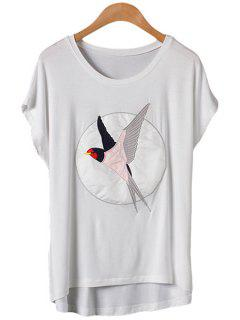 Swallow Pattern Embroidery Short Sleeve T-Shirt - White