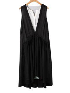 Black White Splicing Asymmetrical Sleeveless Dress - L