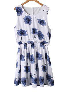Green Floral Print Ruffle Sleeveless Dress - Blue M