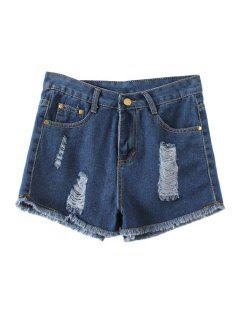 Destroy Wash Denim Shorts - Blue M