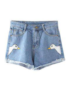 Swan Print Bleach Wash Denim Shorts - Blue L