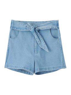 Solid Color Self-Tie Denim Shorts - Light Blue S