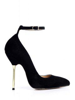 Ankle Strap Pointed Toe Suede Pumps - Black 38