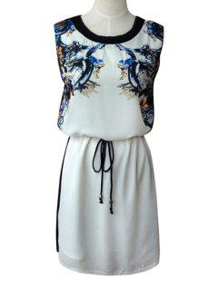 Print Spliced Scoop Neck Sundress - White L