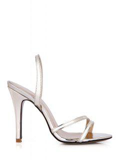Stiletto Heel Solid Color Sandals - Light Gold 38