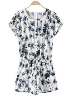 Coconut Tree Print Short Sleeve Romper - White M