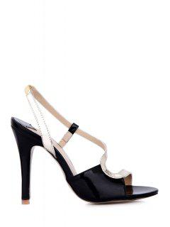 Color Block Stiletto Heel Sandals - Light Gold 39