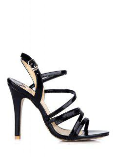 Patent Leather Stiletto Black Sandals - Black 37