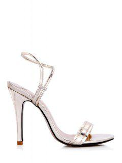 Solid Color Stiletto Heel Sandals - Light Gold 39
