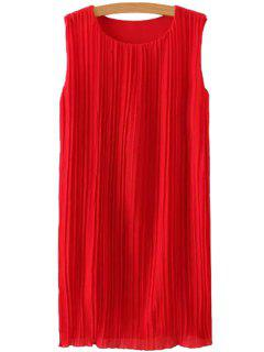 Jewel Neck Ruffle Solid Color Sleeveless Dress - Red M