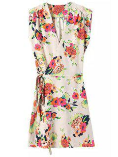 Tie-Up Floral Print Sleeveless Dress - Off-white M