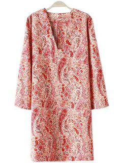 V-Neck Paisley Print Long Sleeve Dress - Red With White L