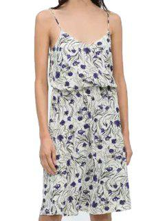 Spaghetti Strap Purple Floral Print Dress - Blue And White L