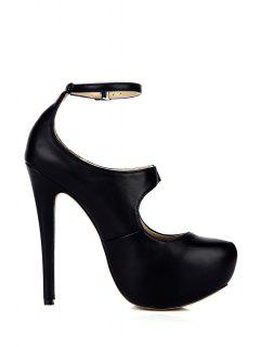 Ankle Strap Sexy High Heel Pumps - Black 37